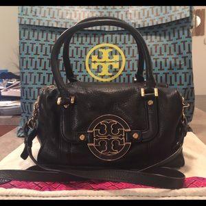 Tory Burch Black Leather Amanda Square Satchel Bag